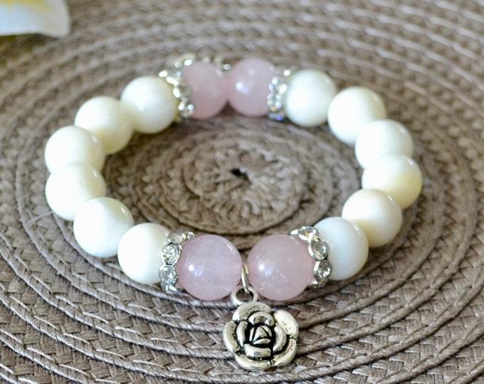 Shell Bracelet, silver charms, rose quartz for girls, hearth chakra, fertility stone, Little princess, wrist mala bead, graduation gift