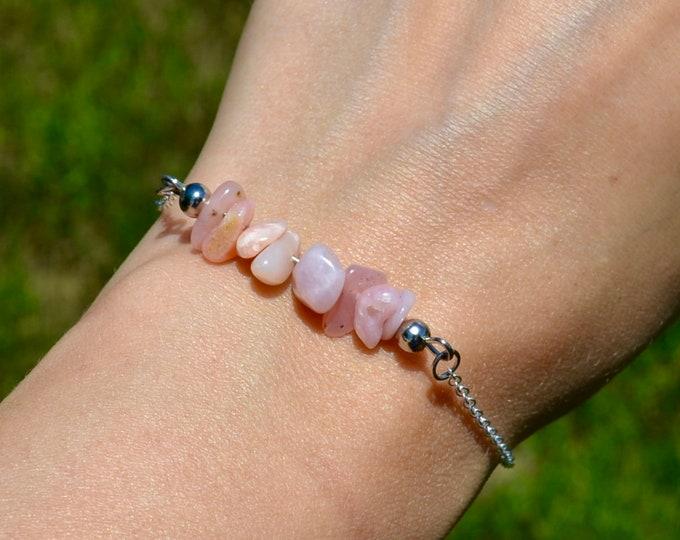 Pink opal bracelet dainty, sterling silver bracelet, Libra jewelry, layering bracelet, October birthstone bracelet, dainty silver bracelet