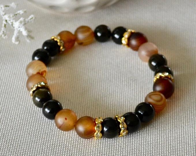 Rainbow obsidian, Agate bracelet, Wrist mala bead, custom bracelet, protecting bracelet, chakra stone, crystal healing, reiki bracelet, gift