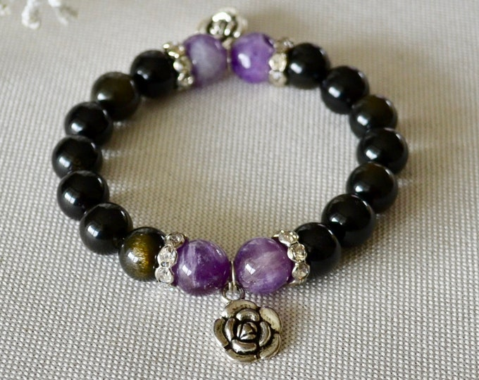 Rainbow Obsidian bracelet with 925 Sterling silver flower charms, amethysts beads - birthstone February
