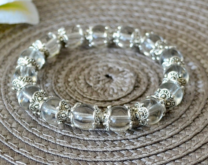 Protecting bracelet,  protecting crystals, 10mm Grade AA beads, quartz bracelet, wrist mala bead, chakra bracelet, against bad energy