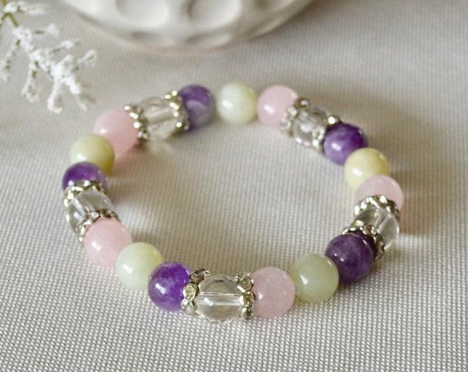Amethyst bracelet, Love attracting, Birthstone February, Jade bracelet, Rose quartz girls, Reiki healing, dainty bracelet, boho gift, yoga