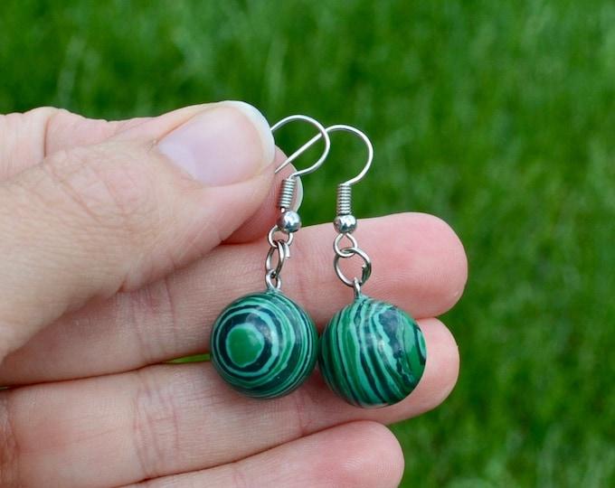 Malachite earrings, crystal earrings, dainty malachite earrings, chakra healing stone, silver minimalist earrings, chakra crystal gift