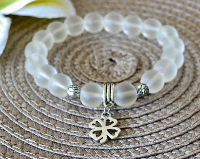 Quartz bracelet, crystal bracelet, healing bracelet, silver charm, wrist mala beads, chakra bracelet, yoga gift, reiki bracelet, boho gift