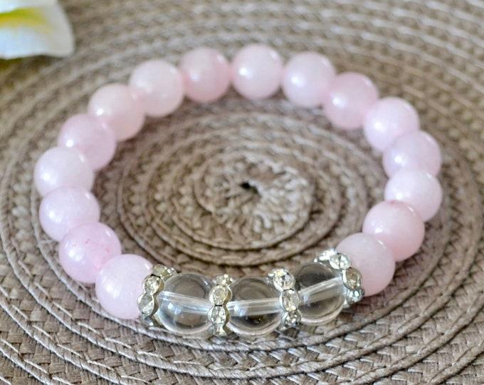 Love Attracting Bracelet, Rose quartz bracelet, rose quartz girls, Romantic gift, little princess, fertility bracelet, protecting bracelet