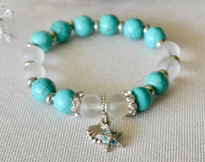 Turquoise bracelet, quartz bracelet, grade AA beads, beach bracelet, birthstone December, bohemian bracelet, silver charm, healing stone