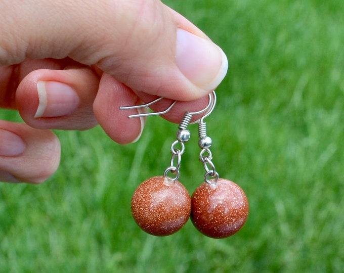 Goldstone earrings, crystal earrings, dainty goldstone earrings, chakra healing stone, silver minimalist earrings, chakra crystal gift