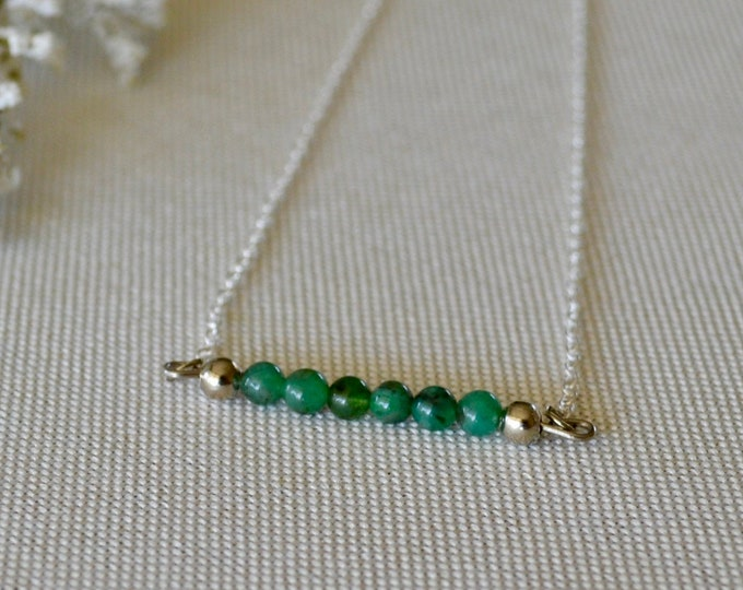 Emerald necklace, natural emerald necklace, birthstone May necklace, emerald bar necklace, emerald birthstone necklace, genuine emerald