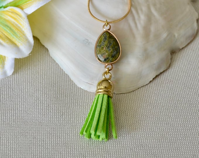 Unakite gold plated necklace, long unakite necklace, tassel and crystal necklace, unakite stone necklace, fertility stone necklace