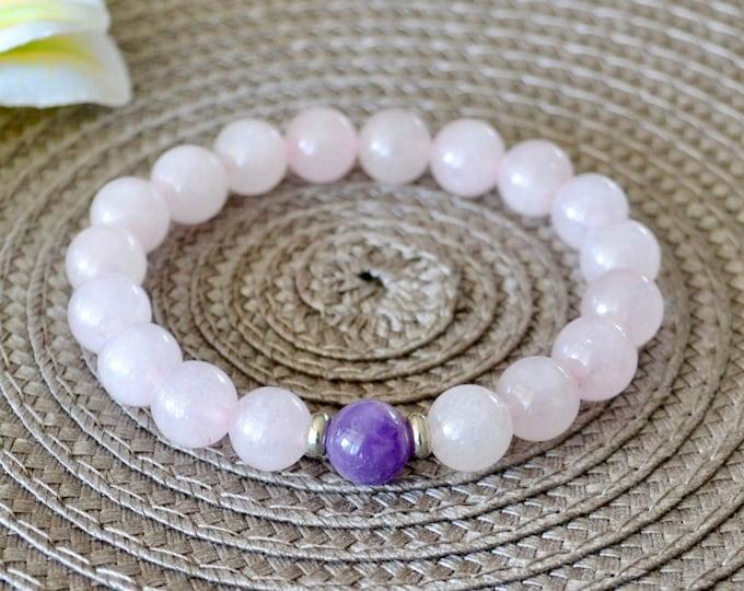Fertility bracelet, IVF support bracelet, Rose Quartz and Amethyst crystals, Love attracting bracelet, Balancing crystal, Heart Chakra