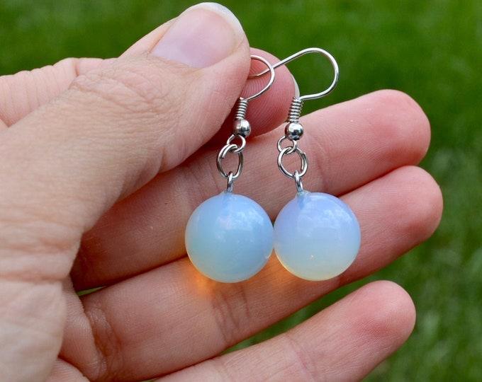 Opalite earrings, crystal earrings, dainty opalite earrings, chakra healing stone, silver minimalist earrings, chakra crystal gift