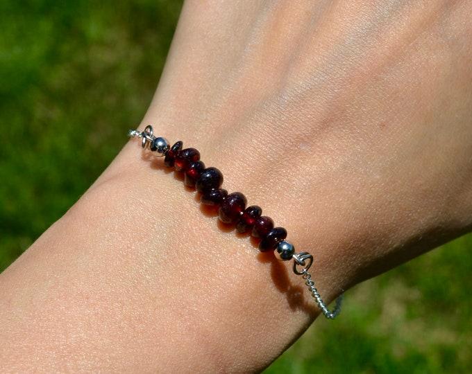 Garnet bracelet dainty, sterling silver bracelet, Capricorn jewelry, layering bracelet, January birthstone bracelet, dainty silver bracelet