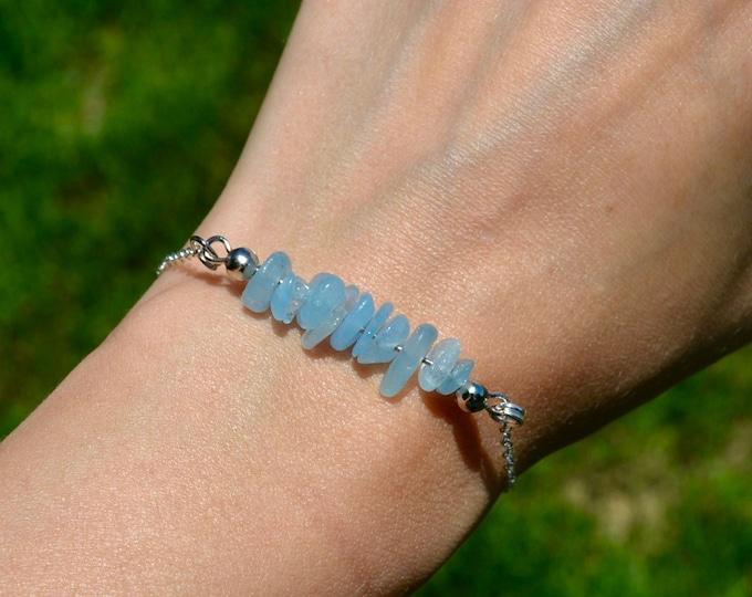 Aquamarine bracelet dainty, sterling silver bracelet, pisces jewelry, layering bracelet, March birthstone bracelet, dainty silver bracelet