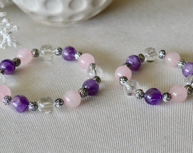 Rose Quartz girls, Amethyst bracelet,  Mom and me, My little princess, Mother's day, Gift for little girl,  Matching bracelets, chakra gift