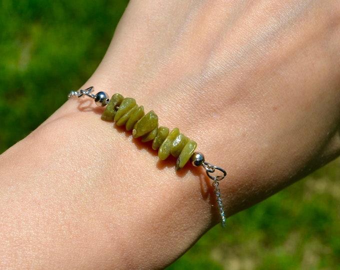 Peridot bracelet dainty, sterling silver bracelet, Leo jewelry, layering bracelet, August birthstone bracelet, dainty silver bracelet