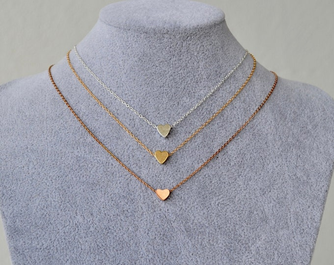 """Tiny heart necklace, rose gold choker, 16"""" gold chain, love necklace, heart charm choker, simple necklace, delicate necklace"""