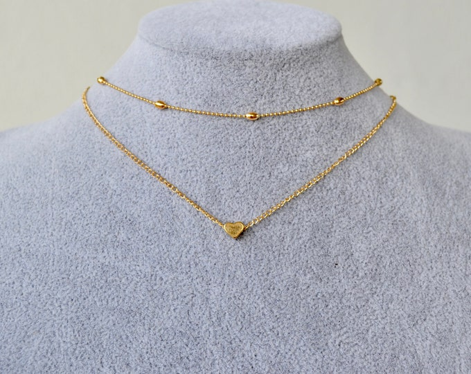 Tiny hearth necklace,  gold choker, gold hearth necklace,  gold hearth choker, silver hearth necklace, layering necklace, short necklace