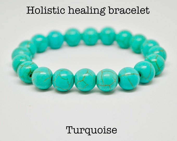 Turquoise Bracelet, birthstone bracelet, birthstone December, wrist mala bead, Chakra bracelet, charm bracelet