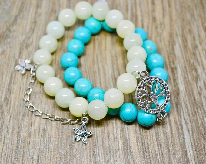 Birthstone December, Turquoise bracelet, Silver charm bracelet, Jade bracelet, holistic healing, Dream stone, crystal healing, boho gift