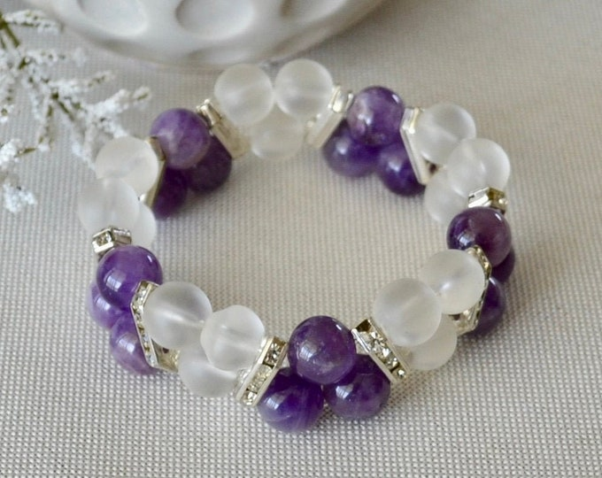 Amethyst bracelet, Quartz bracelet, Birthstone February, Aquarius star sign, Meditation bracelet, Chakra stone, statement bracelet, bohemian
