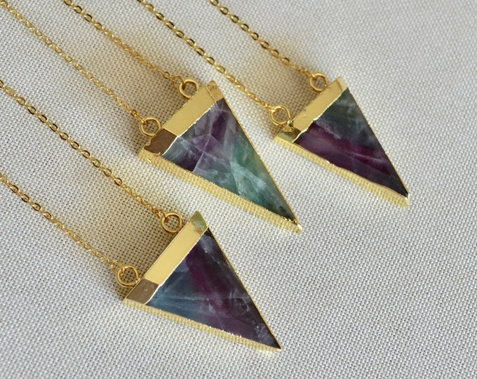 Rainbow fluorite necklace, gold dipped fluorite necklace, fluorite necklace triangle, geometrical necklace, rainbow fluorite point
