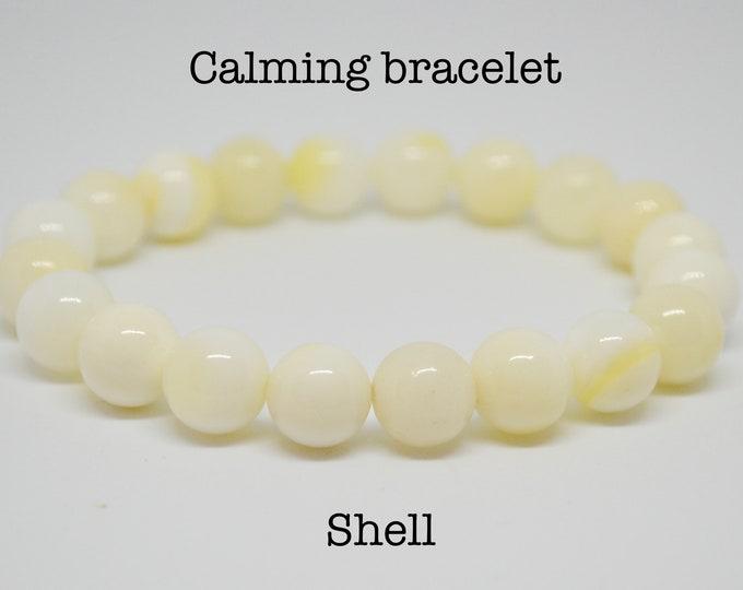 Shell Bracelet, calming bracelet, wrist mala bead, chakra bracelet, white bracelet, yoga gift, bohemian jewelry, delicate bracelet