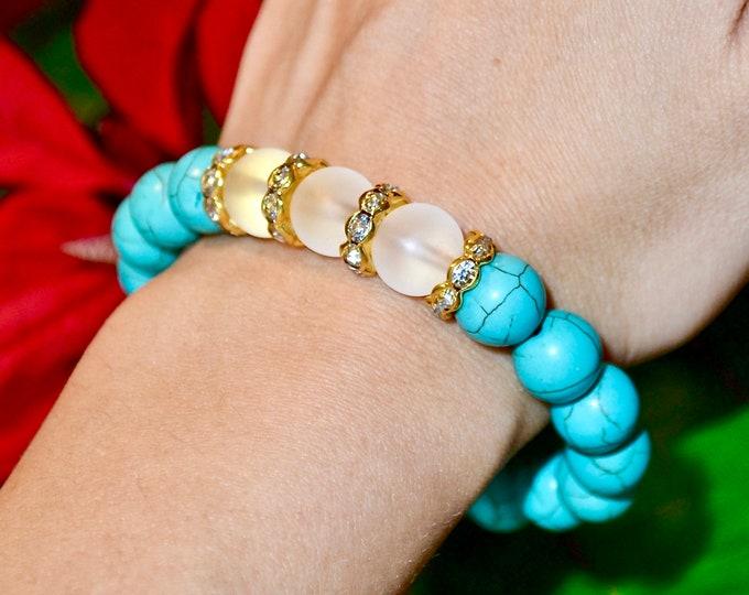Birthstone December, Turquoise bracelet, wrist mala beads,  holistic healing, protecting bracelet, chakra stone, reiki healing, for women