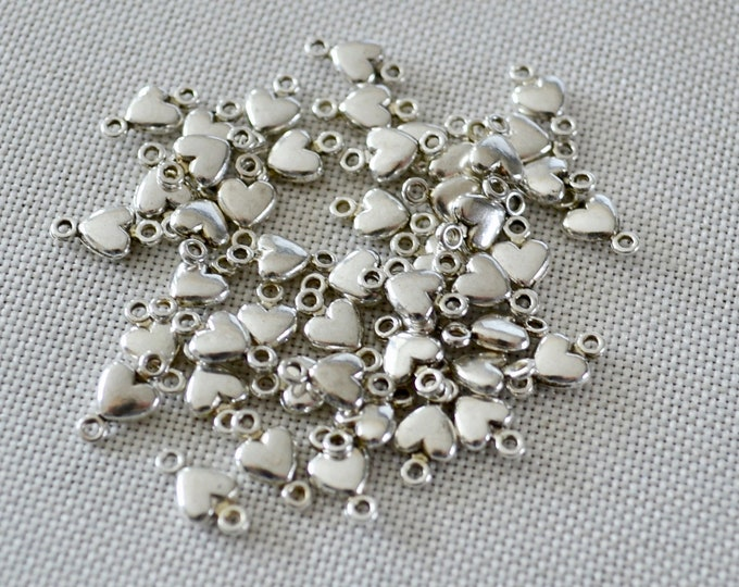 Jewelry connectors, silver heart connectors, jewelry making beads, beads for bracelet, jewelry findings, craft supplies beads, dainty hearts
