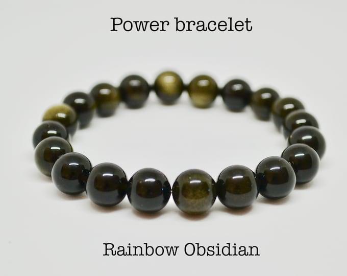 Rainbow obsidian bracelet, sheen obsidian bracelet, base chakra crystal, obsidian for men, gift for husband, mala men, chakra bracelet men