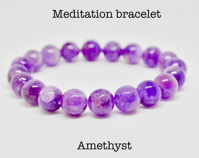 Amethyst bracelet, birthstone February, wrist mala bead,  meditation bracelet, reiki healing crystal, bohemian crystals, healing crystals