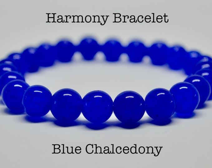 Chalcedony bracelet, Harmony bracelet, Grade AAA beads, blue beads gifts for dad, intention bracelet, holistic healing, boyfriend gifts