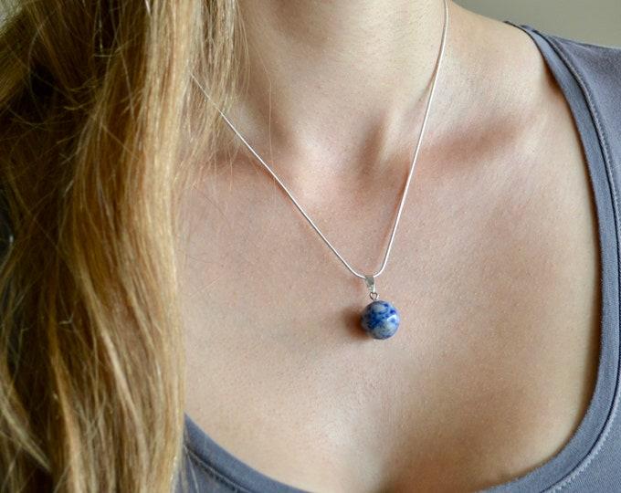 Lapis lazuli necklace, silver necklace, 18 silver chain, chakra stone, minimalist necklace, chakra necklace, mala necklace, healing crystals