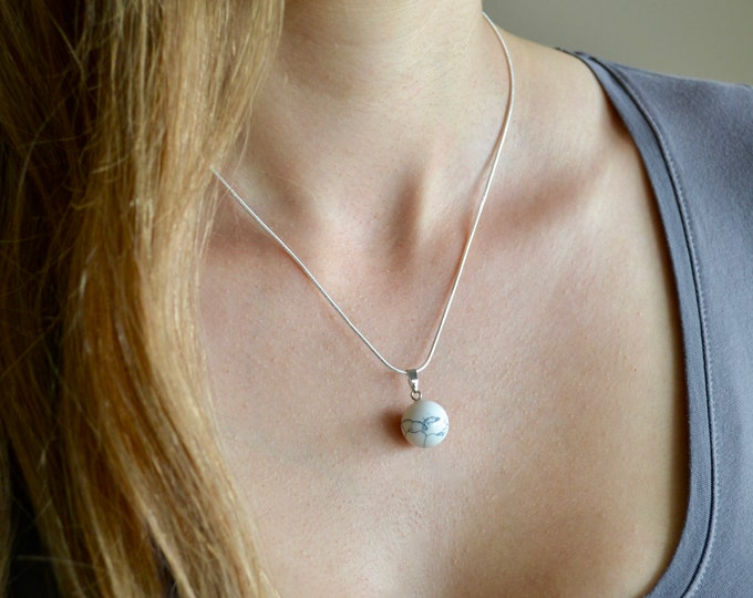 Howlite necklace, silver necklace, 18inch silver chain, chakra stone, minimalist necklace, stress relief stone, insomnia stone, healing gift