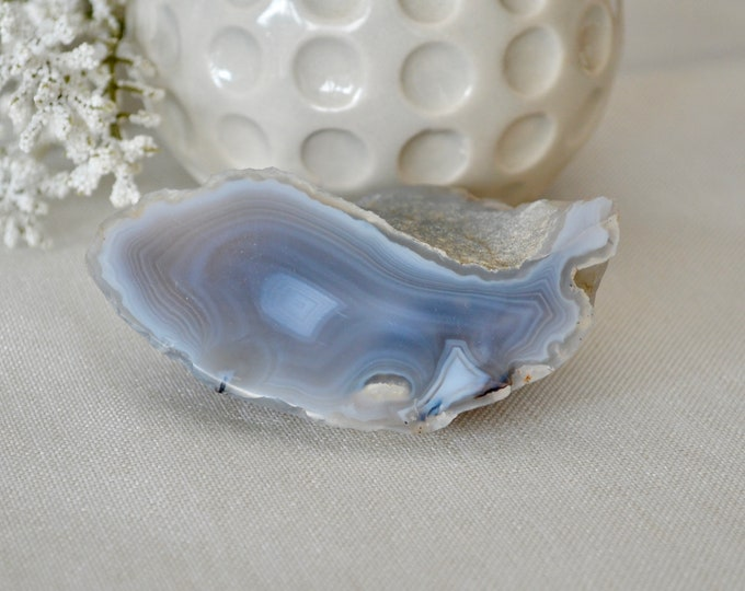 Blue lace agate slice from Bulgaria - lace agate crystal - grade A agate slice - crystal specimen - crystal specimen - lace agate stone