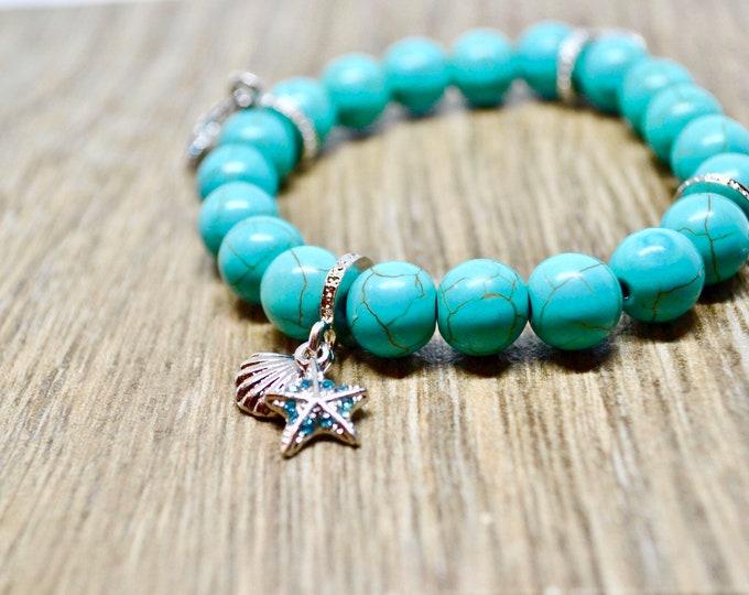 Turquoise bracelet, Birthstone December, Silver charms, shell charm, Wrist mala bead, Chakra bracelet, Reiki energy, Healing stone, boho