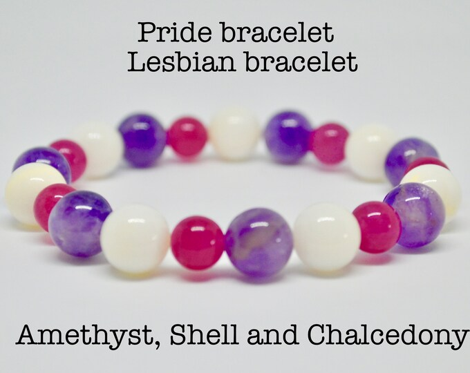 Lesbian bracelet, Pride bracelet,  Sexuality,  Chalcedony beads, Amethyst, 8mm grade AAA beads, lesbian flag, Gay pride,  LGBTQ pride