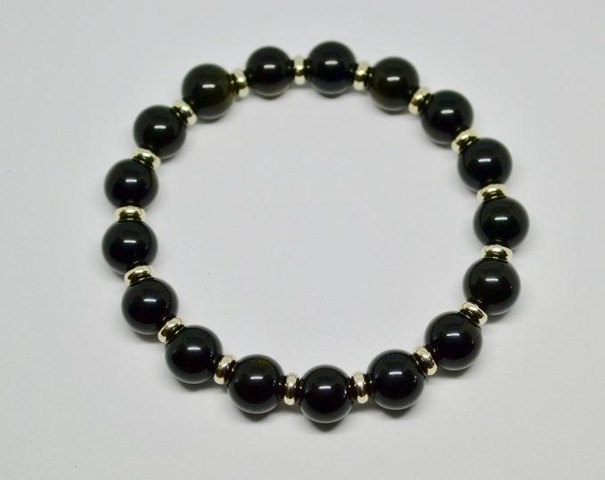 Man bracelet, Rainbow obsidian bracelet, gift for boyfriend, dad, uncle, brother, boy, black bracelet for man, Mens gift, gift for him