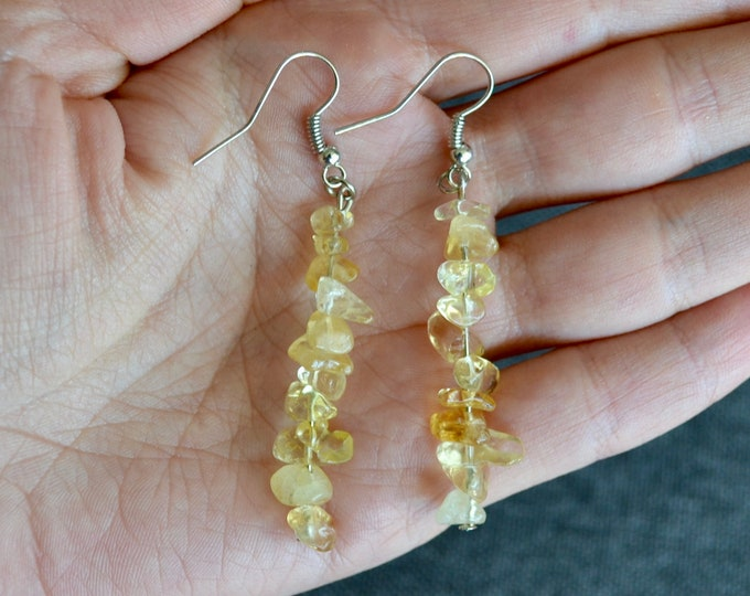 Yellow topaz earrings, Birthday crystal gift,  zodiac earrings, birthday, November gift, topaz earrings, minimalist dangling earrings