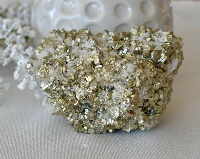 Pyrite with quartz from Bulgaria - pyrite stone - pyrite mineral - crystal specimen - fool's gold - rare minerals - rare stones - quartz