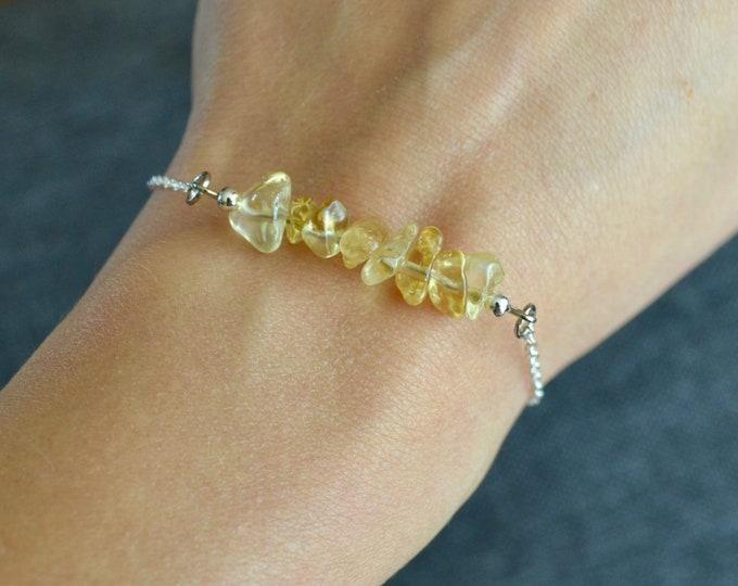 Yellow topaz bracelet dainty, sterling silver bracelet, Scorpio jewelry, November birthstone bracelet, dainty silver bracelet