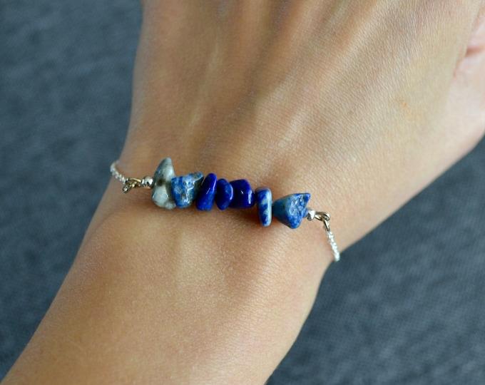 Lapis lazuli bracelet dainty, sterling silver bracelet, lapis lazuli jewelry, brow chakra bracelet, dainty silver bracelet