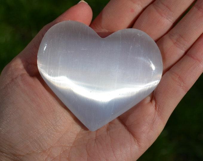 Selenite heart stone, gemstone heart rock, chakra crystal, heart stone, heart chakra stone, healing stones and crystals, love gift