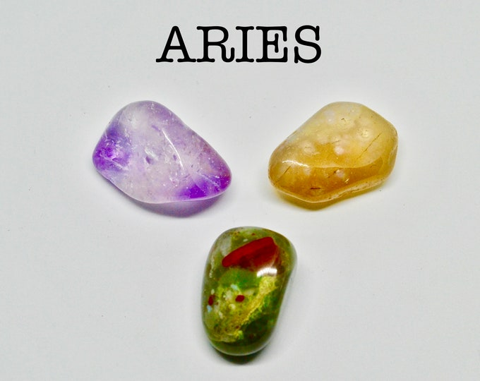 ARIES crystals, star sign Aries, gift for Aries, astrology crystals, zodiac stones, Aries birthstone, amethyst, chalcedony, bloodstone, gift
