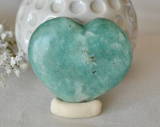 Amazonite heart stone, gemstone heart rock, chakra crystal, heart stone, heart chakra stone, healing stones and crystals, love gift,