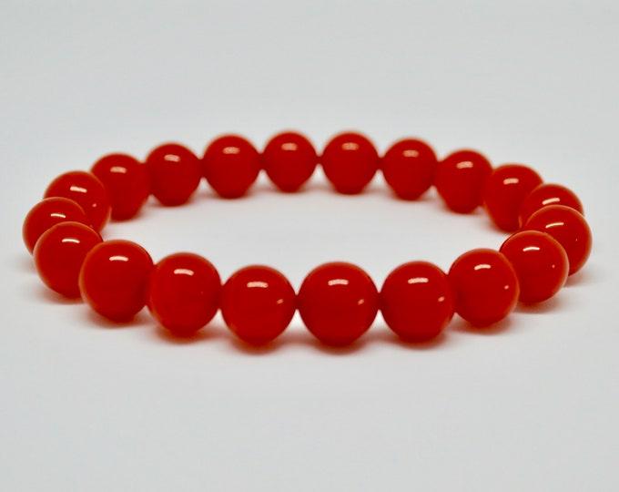 Amber bracelet, Man-Made pressed resin, Orange bracelet,  Stackable bracelet, Stretch bracelet, Deep orange bracelet, boho gift