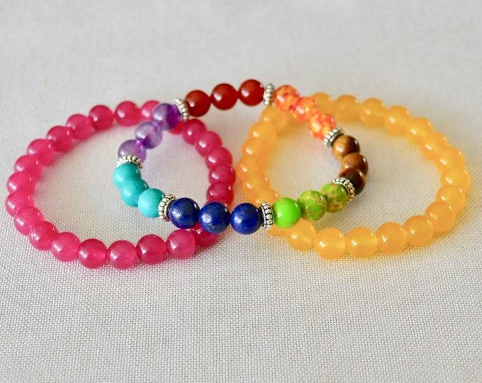 CHAKRA bracelets set, 7 chakra stones, healing crystals, chakra jewelry, healing bracelet, reiki bracelet, healing stone, wrist mala beads