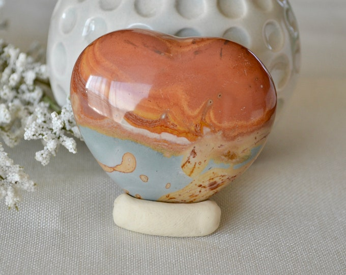 Picasso Jasper heart  stone, gemstone heart rock, chakra crystal, heart stone, heart chakra stone, healing stones and crystals, love gift,