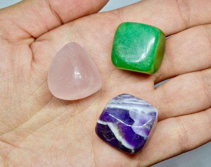 LOVE crystals, helping gemstones, inspiration crystal, love attract crystal, aventurine, rose quartz, amethyst, intention crystals, gift