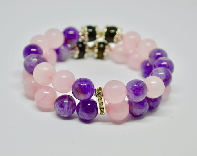 Amethyst bracelet, birthstone February, Love attracting, rose quartz bracelet, rainbow obsidian beads, grade AA beads, reiki energy, yoga