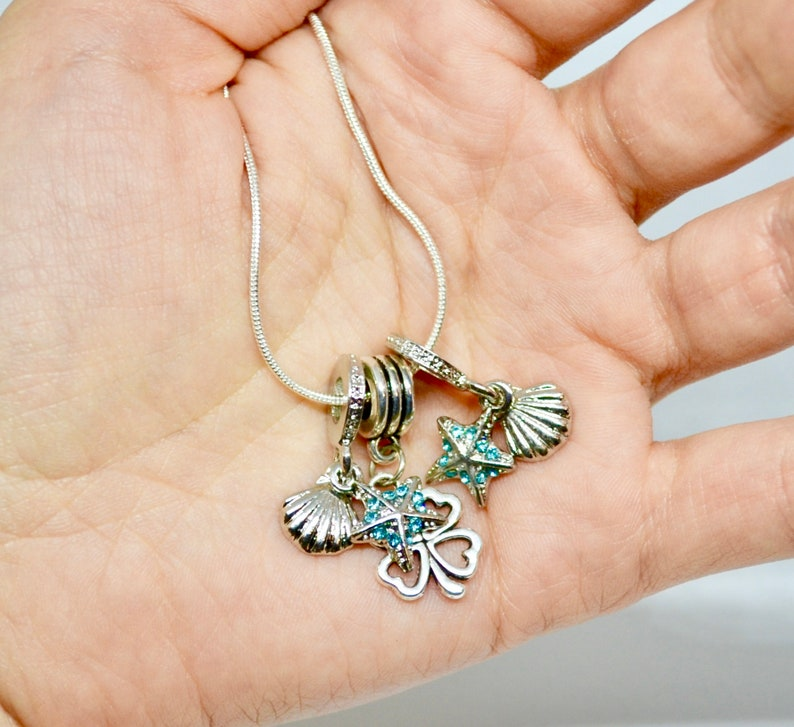 reiki jewelry silver necklace delicate necklace luck charm Dainty necklace simple necklace summer vacation sea star choker gifts